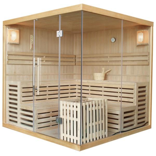 Traditionelle Saunakabine / Finnische Sauna Kuusamo 200 x 200 cm 9 kW