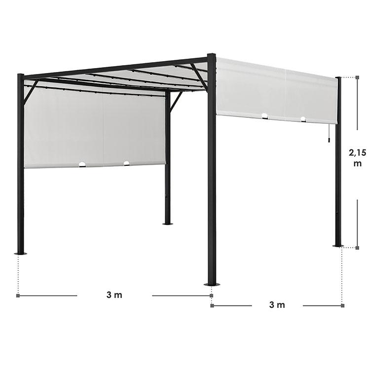 Pavillon Cavo 3 × 3 m creme mit Flachdach und LED Beleuchtung