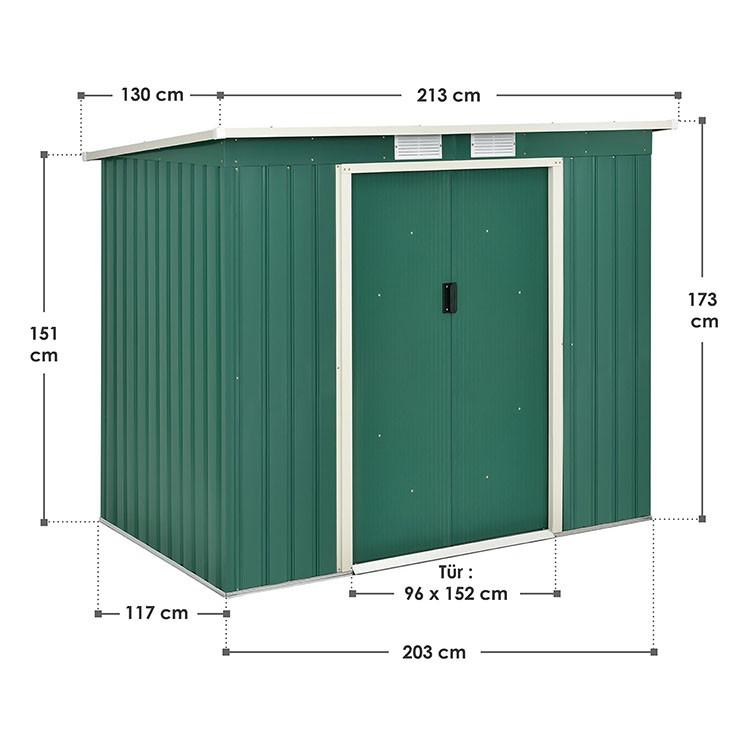 Abmessungen M-Metall-Gerätehaus mit Pultdach, Fundament und Schiebetüren in Dunkelgrün