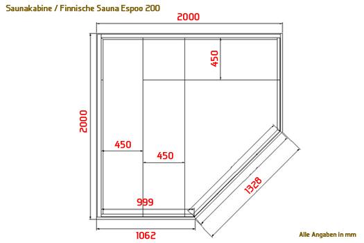 saunakabine espoo200 massivholz sauna ecksauna. Black Bedroom Furniture Sets. Home Design Ideas
